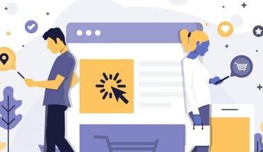 imagen tipo comic de un hombre y una mujer consultando el celular y una grafica grande en medio