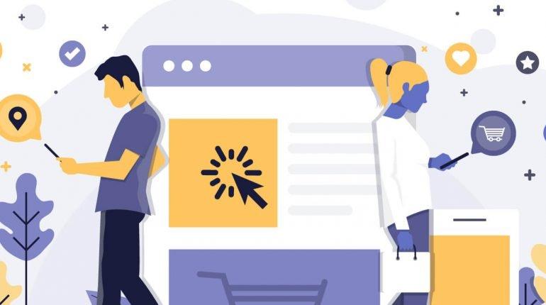 cuánto cuesta página web imagen tipo comic de un hombre y una mujer consultando el celular y una grafica grande en medio