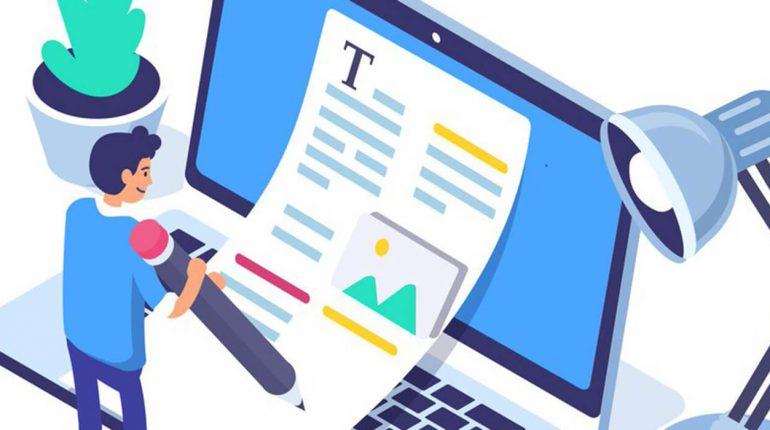 debe revisar enlaces web Imagen tipo comic de un persona con lapiz gigante escribiendo textos sobre una pantalla gigante de laptop
