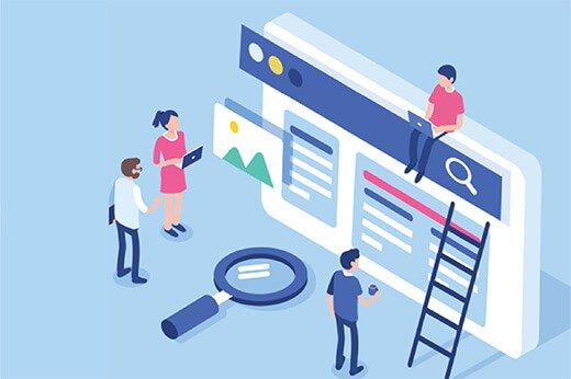 imagen tipo comic de personas trabajando sobre pantalla gigante en oficina y viendo graficas