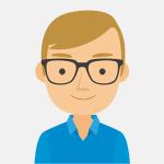 imagen tipo comic de la cara y medio cuerpo de una persona con gafas