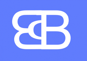Logo ECB letras blancas fondo azul