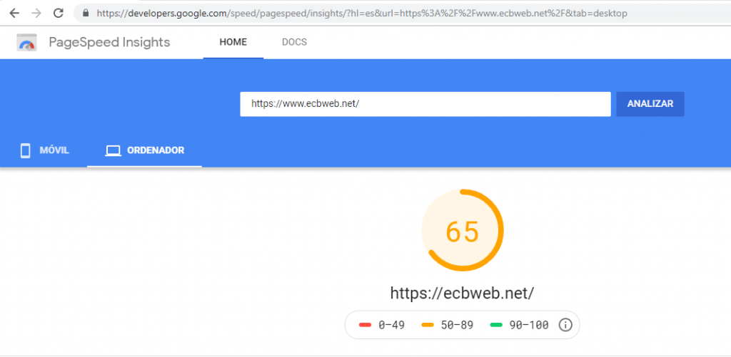 Captura PageSpeed ECBWEB pc